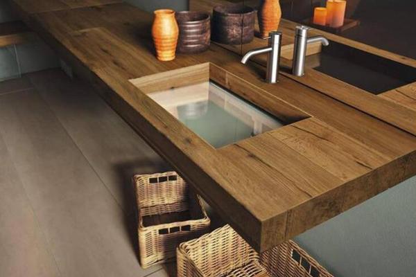 一体化反沉木材水槽 镂空设计离奇效果