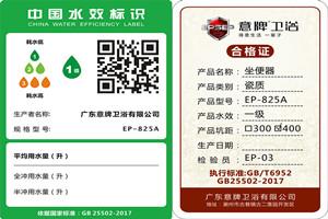 热烈祝贺广东意牌卫浴多款产品通过水效标识备案