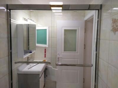 德立淋浴房干湿分离不锈钢移门整体卫生间定制一字型隔断推拉门S7